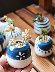 cheap -8PCS Hand-Drawing Thumb Flower Pot Ceramic Planter Container Home Office Decoration Christmas Gift