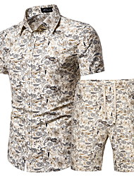 cheap -Men's Plus Size Set Geometric Graphic Print Tops Basic Boho Classic Collar Beige / Short Sleeve / Beach