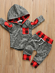 cheap -Baby Boys' Casual / Active Solid Colored / Print Print Long Sleeve Regular Clothing Set Dark Gray