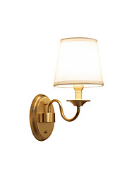 cheap -Nordic Gooseneck Wall Lamp Round Shape Bedroom Night Light Reading Light Wall Mount Brass Lampbody Antique Wall Sconces Fabric Shade Gold