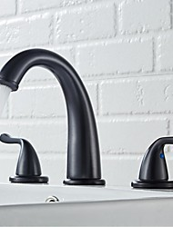 cheap -Bathroom Sink Faucet - Widespread Chrome / Nickel Brushed / Black Widespread Two Handles Three HolesBath Taps