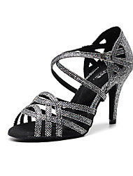 cheap -Women's Dance Shoes Synthetics Latin Shoes Buckle Heel Slim High Heel Gold / Black / Silver / Performance