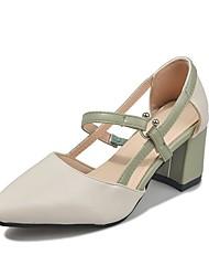 cheap -Women's Heels Chunky Heel PU Summer Brown / Green