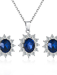 cheap -Women's Blue Synthetic Sapphire Drop Earrings Necklace Retro Flower Trendy Korean Sweet Imitation Diamond Earrings Jewelry Blue For Wedding Party Gift Daily 1 set