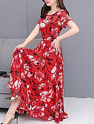 cheap -Women's Swing Dress - Floral Lace Trims Green Red L XL XXL
