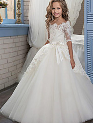 cheap -Ball Gown Floor Length Flower Girl Dress - Cotton / nylon with a hint of stretch / Organza / Tulle Half Sleeve Boat Neck with Appliques / Bow(s) / Lace
