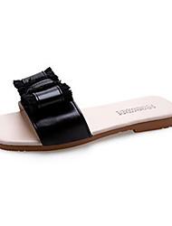 cheap -Women's Slippers & Flip-Flops Flat Heel Bowknot PU Casual Summer Black / Beige