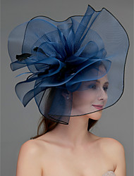 cheap -Net Fascinators / Headdress / Headpiece with Feather / Flower / Trim 1 Piece Wedding / Special Occasion / Tea Party Headpiece