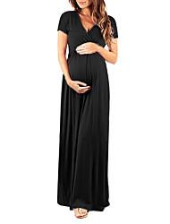 Недорогие -Жен. Беременная невеста Макси Оболочка Платье - С короткими рукавами Однотонный Пэчворк Классический Винный Черный Темно синий S M L XL