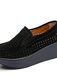 cheap -Women's Flats Creepers Round Toe PU Spring &  Fall Black / Red / Blue