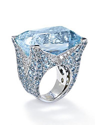 cheap -Women's Band Ring Cubic Zirconia 1pc Light Blue S925 Sterling Silver Alloy Circle Classic Vintage Elegant Wedding Engagement Jewelry Vintage Style Flower Lovely