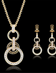 cheap -Women's Cubic Zirconia Bridal Jewelry Sets Classic Donuts Stylish Gold Plated Earrings Jewelry Gold For Party Daily 1 set