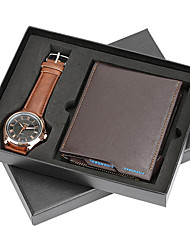 cheap -Men's Dress Watch Quartz New Arrival Chronograph Analog Black Brown / One Year / Leather
