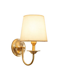 cheap -Wall Lamp American Rustic Wall Sconces Fabric Shade Nordic Simple Bedroom Night Light Reading Light Wall Mount Brass Based