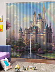 cheap -3D Digital Printing European Privacy Two Panels Custom Polyester Curtain For Girls Room Living Room Decorative Dust-proof Waterproof High-quality  Curtains
