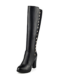 cheap -Women's Boots Knee High Boots Chunky Heel Round Toe Rivet PU Knee High Boots Fall & Winter Black / White