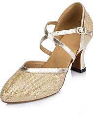 cheap -Women's Modern Shoes / Ballroom Shoes PU Buckle Heel Buckle Thick Heel Customizable Dance Shoes Gold / Khaki / Silver / Performance