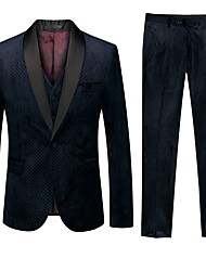 cheap -Tuxedos Standard Fit Shawl Collar Single Breasted One-button Polyester / Cotton Blend / Polyster Solid Colored