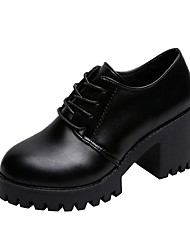 cheap -Women's Oxfords Chunky Heel PU Casual Summer Black / Daily
