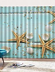 abordables -Hot vente jolie étoile de mer pvc impression fenêtre rideaux articles pour la maison luxe isolation thermique rideau occultant tissu pour salon chambre