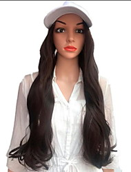 cheap -Synthetic Wig Curly With Bangs Wig Long Flaxen Light Brown Natural Black Dark Brown / Golden Blonde Black / Brown Synthetic Hair 60 inch Women's Women Dark Brown Brown