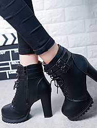 cheap -Women's Boots Chunky Heel Round Toe Button Faux Leather Booties / Ankle Boots Vintage Winter Black