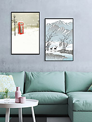 cheap -Framed Art Print Framed Set - Landscape Cartoon PS Illustration Wall Art
