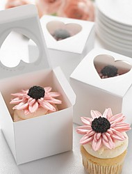 cheap -Cuboid Cardboard Favor Holder with Sweetheart Favor Boxes - 100pcs