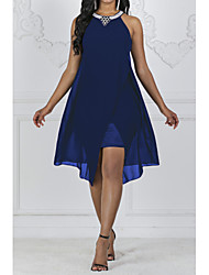 cheap -2019 New Arrival Dresses Women's Holiday Casual / Daily Slim A Line Swing Dress Elbise Vestidos Robe Femme Sequins Beaded Chiffon Halter Neck Navy Blue Purple XL XXL XXXL