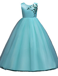 cheap -Princess Floor Length Wedding / Pageant Flower Girl Dresses - Polyester / Tulle Sleeveless Jewel Neck with Belt / Pattern / Print