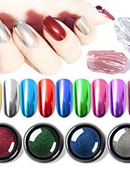 cheap -0.5g/box Mirror Nail Powders Metallic Effect Rub Nail Art Glitters UV Gel Polish Chrome Pigment Dust DIY Manicure Decorations