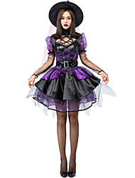 cheap -Witch Dress Cosplay Costume Masquerade Adults' Women's Cosplay Halloween Christmas Halloween Carnival Festival / Holiday Tulle Satin Purple Women's Carnival Costumes Holiday Halloween