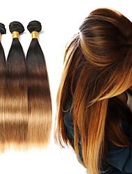 cheap -Straight Human Hair 3 Bundles Ombre Brazilian Human Hair Weave Bundles T1B/4/27 Ombre Hair Extensions Remy Hair 50g/Bundle