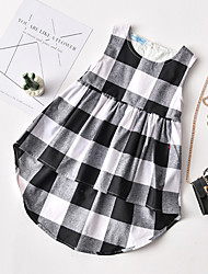 cheap -Baby Girls' Boho Color Block Lace up / Print Sleeveless Above Knee Cotton Dress White / Toddler