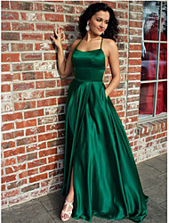 cheap -A-Line Halter Neck Sweep / Brush Train Satin Elegant Prom Dress 2020 with Split Front