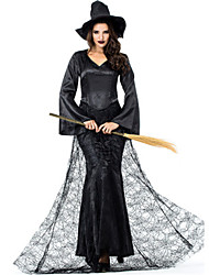 cheap -Witch Dress Cosplay Costume Masquerade Adults' Women's Cosplay Halloween Christmas Halloween Carnival Festival / Holiday Tulle Satin Black Women's Carnival Costumes Holiday Lace Halloween