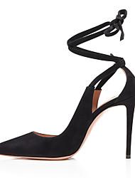 cheap -Women's Heels Stiletto Heel Pointed Toe Suede Minimalism Spring & Summer / Fall & Winter Black / Beige / Party & Evening
