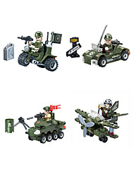 cheap -Building Blocks Military Blocks Vehicle Playset 4 pcs compatible Legoing Hand-made Police car Helicopter All Toy Gift / Educational Toy
