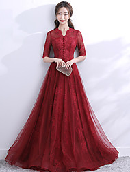 cheap -A-Line Scalloped Neckline Sweep / Brush Train Lace / Tulle Elegant Formal Evening Dress with 2020