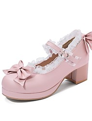 cheap -Women's Heels Chunky Heel Round Toe Bowknot / Buckle / Stitching Lace Faux Leather Casual / Sweet Walking Shoes Spring &  Fall / Fall & Winter Black / Pink / Beige / Color Block / Daily