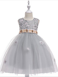 cheap -Princess Knee Length Flower Girl Dress - Cotton / Tulle Sleeveless Jewel Neck with Appliques / Pattern / Print by LAN TING Express