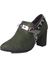 cheap -Women's Heels Chunky Heel Pointed Toe Rivet Faux Leather British Spring / Fall Dark Brown / Army Green / Daily