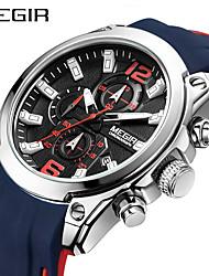abordables -megir hommes regarder luxe chronographe étanche sport homme horloge en caoutchouc armée armée montre
