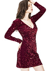 cheap -Diva Disco 1980s Dress Women's Sequins Costume Wine / Royal Blue / Blue Vintage Cosplay Prom Long Sleeve Above Knee Sheath / Column
