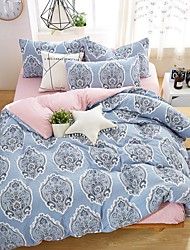 cheap -Duvet Cover Sets Geometric / Floral / Botanical Poly / Cotton / Rayon Reactive Print / Yarn Dyed / Printed 4 PieceBedding Sets