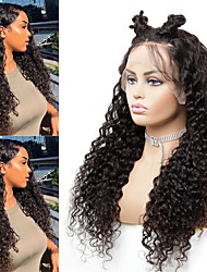 cheap -Human Hair Wig Medium Length Water Wave Side Part Party Women Best Quality Lace Front Brazilian Hair Women's Black#1B 8 inch 10 inch 12 inch