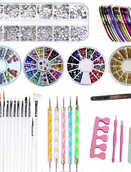 cheap -Nail Art Set Tape Line Nail Stickers Colored Rhinestones Decoration Gradient Nails Sponges for Color Fade Manicure Dotting Marbleizing Pen for Pedicure