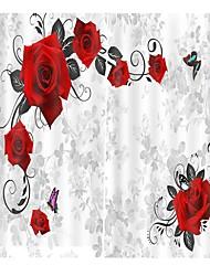 Недорогие -свет и роскошь 3d печать розы печать занавес утолщение чистый полиэстер светозащитный водонепроницаемый пылезащитный занавеска для ванной / занавес