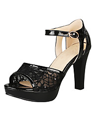 cheap -Women's Sandals Cone Heel Peep Toe Buckle PU(Polyurethane) Casual / Sweet Summer Black / Silver / Red / Wedding / Party & Evening / Color Block