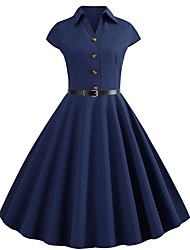 cheap -Women's Street chic Elegant Swing Dress - Solid Colored Lace up Navy Blue L XL XXL